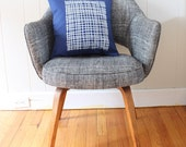 16 in Square Throw Pillow - Navy Blue with Modern Grid print in white ink