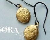 Mini locket earrings, locket drop earrings, brass jewelry vintage locket earrings, gift for teen girls