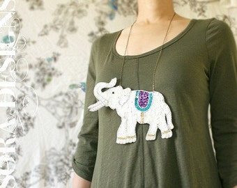 elephant bib necklace, white elephant sequin statement necklace