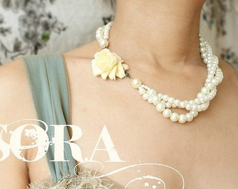 Statement necklace, bridal twisted pearl rose statement necklace, bridal wedding pearl jewelry