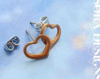 Heart Studs, Vintage Post Earrings, heart earrings, vintage copper tone rose gold heart post earrings heart jewelry