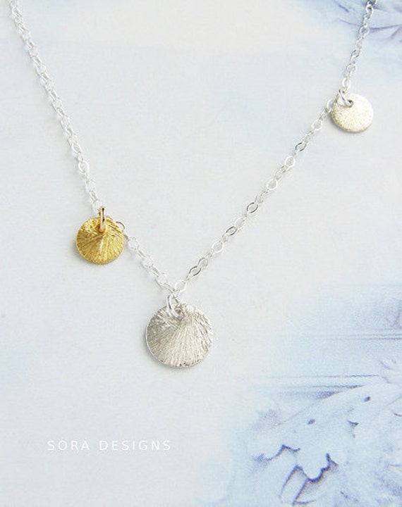 gold coin drop necklace, simple silver gold charm necklace, mix metal coin drop bridesmaid jewelry, everyday delicate dainty wedding jewelry