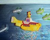 "THE HIJACK - beaded yellow submarine pop art painting 24"" x 36"""
