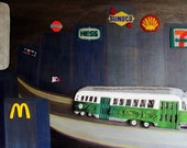 GASOLINE DISTRICT beaded Boston Green Line trolley painting 24 x 48