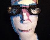 Beaded Self Portrait Wall Art - Bead Embroidery Doll Face iMAC INSOMNIAC