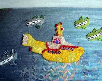 "THE HIJACK - beaded yellow submarine pop art painting 24"" x 36"""