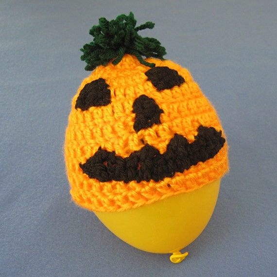 Jack-o'-Lantern Hat for Baby, Toddler, or Child -- Four Sizes -- Crochet Pattern -- Instant Digital Download