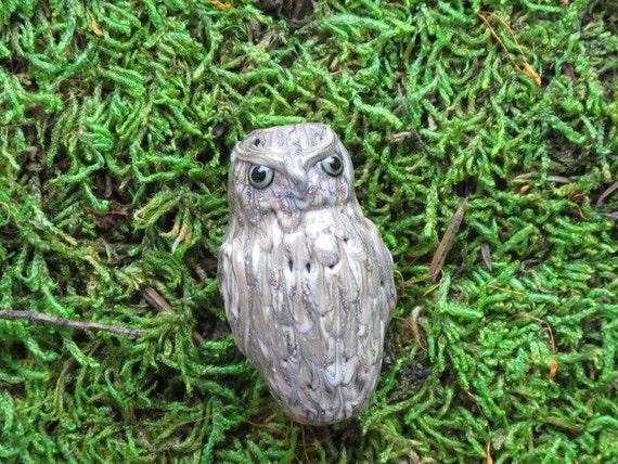 A Little Owl Bead Sculptural Handmade Lampwork Glass