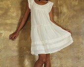 30 USD Sale  Kitty dress...Ivory.. silk mix linen/cotton blend  (M,L,XL) Maternity dress, sun dress ,classic dress,