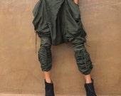 Heather Pants...Dark green mix silk Stream punk (1117)