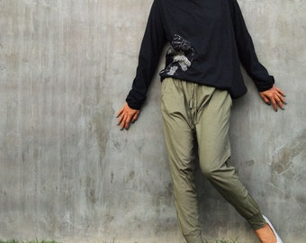 Ninja funky pants...Jersey cotton Olive Green (M,L,XL) (1412)