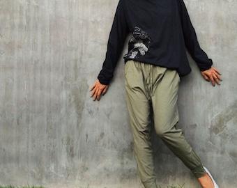 Ninja funky pants...Jersey cotton Olive Green (M,L,XL) (1412)
