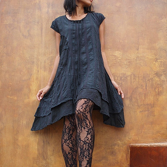 Artistic Collection...Sun and rain pleated dress M (1404)