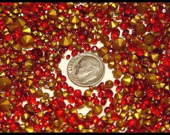 200 siam ruby red vintage rhinestone lot - round foil backed chatons