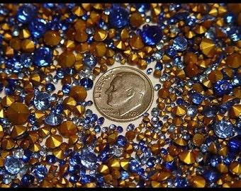 200 Vintage Blue Round Chaton Rhinestones