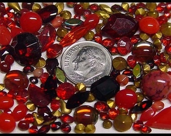 Over 100 Vintage Unused Ruby Red Rhinestones Variety of Shapes Sizes and Shades