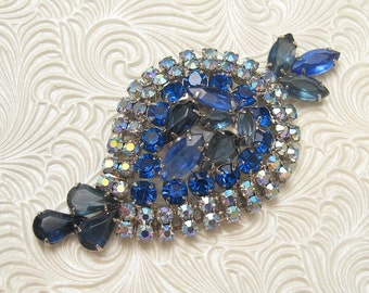 Large Vintage Blue Rhinestone Brooch Bold Jewelry  P4550