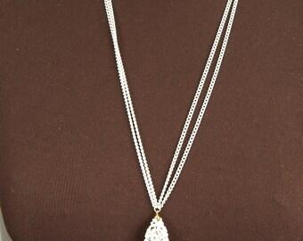 Vintage Monet White Tassle Necklace