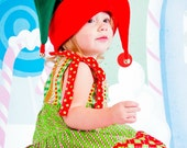 Elf hat, childrens christmas hat, red and green fleece, toddler hat, infant hat, adult hat, Christmas hat, holiday hat, jester hat