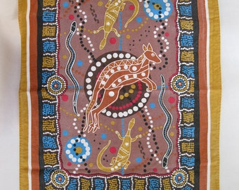 Vintage cotton dish towel, Australia, with kangaroo, lizards, and snakes art print
