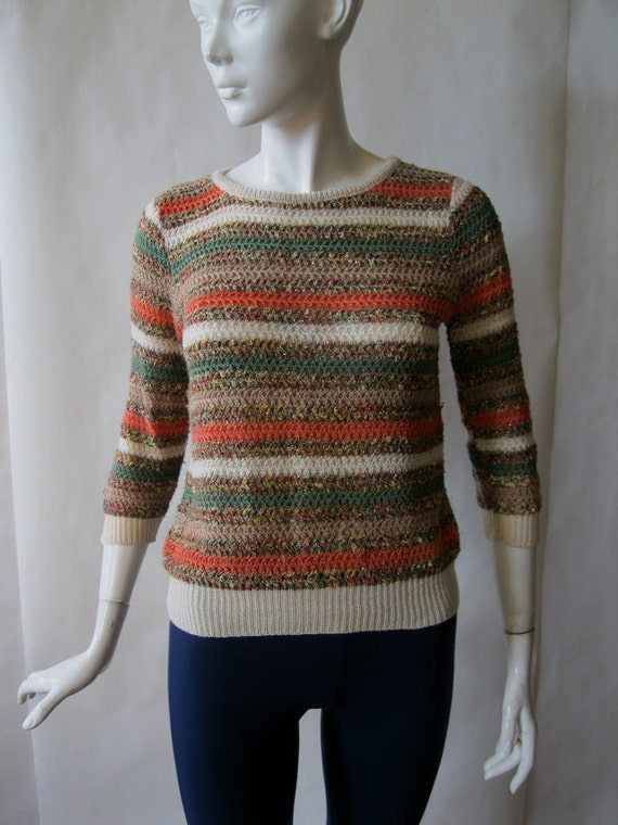 Striped 3/4 sleeve textured sweater in coral, sage, cream, tan, and gold, 1970's / early 1980's, about a medium