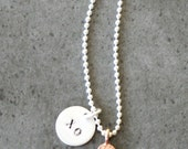 """Hand Stamped Sterling Silver """"XO"""" Charm"""