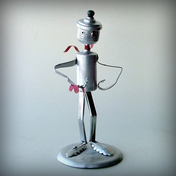 robot sculpture art - You Melt My Heart - valentine art