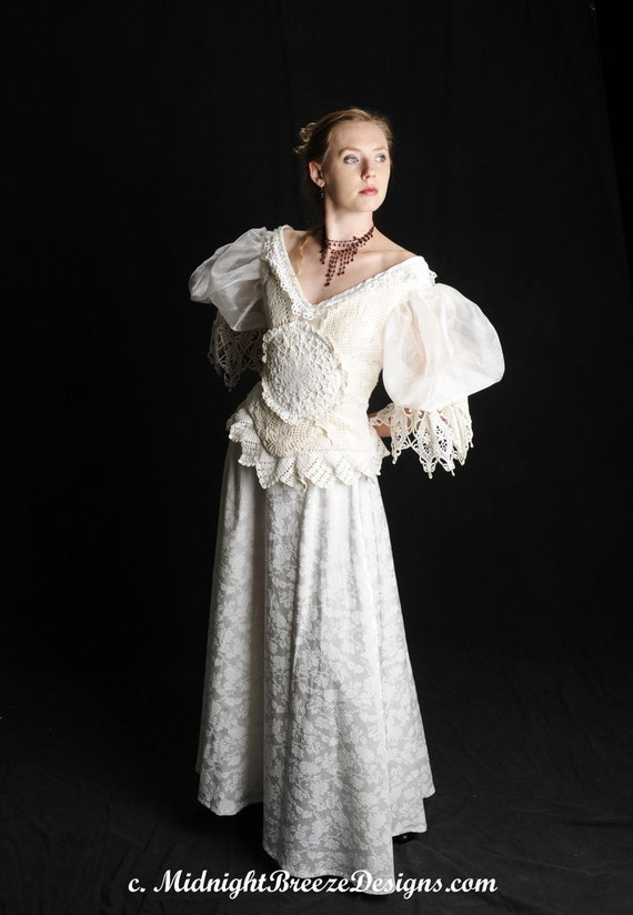 Ready to Wear , Victorian / Steampunk / Western Style Wedding Bridal Gown Dress -PRICE REDUCED -  OOAK