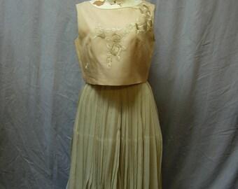 50's, 60's Bud Kilpatrick couture, pale celadon silk chiffon dress.