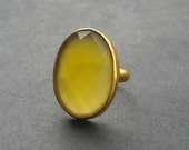 Canary yellow ring - Canary ring - Gemstone ring - Vermeil ring - Gold ring - Yellow Chalcedony ring - Gift for her