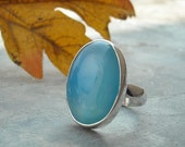Blue chalcedony ring - Blue stone ring - Cabochon ring - Bezel ring - Oval gemstone ring - Gift for her