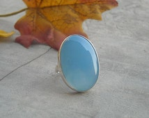 Blue chalcedony ring - Blue ring - Oval stone ring - Bezel ring - Oval ring - Gemstone ring - Sterling silver - Gift for her