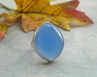 Blue chalcedony ring - Blue ring - Bezel ring - Marquise ring - Gemstone ring - Bold ring - Gift for her