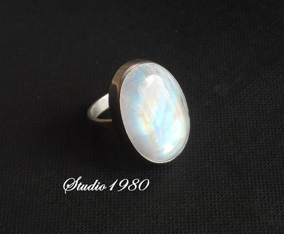 Natural Moonstone Ring - Oval ring - Gemstone ring - Sterling silver ring - Bezel ring - Cabochon ring - Gift for her