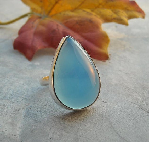 Aqua blue chalcedony ring - Tear drop ring - Bezel ring - Gemstone ring - Sterling silver ring - Gift for her