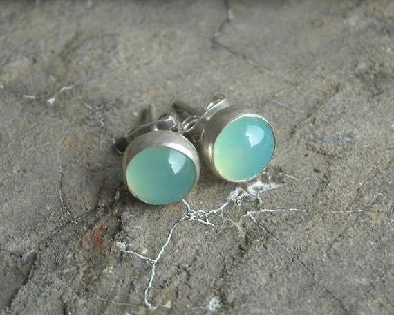 Round studs - Aqua stud earrings - Chalcedony earrings - Sterling silver studs - Small studs - Gift for her