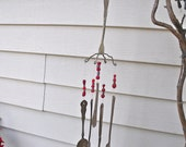 SILVERWARE  WIND CHIMES-REcycled / Repurposed silverware inTo  WinDchimes  with ReD and Lavender glass BeaDs