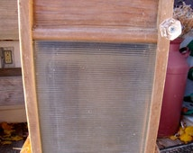 """WASHBOARD CABINET using an UPcycLeD"""" VicTory GLaSS"""" Washboard To WaLL CABINET-LinGeRiE sz-w /anTiQue gLass KnoB-Great Medicine/Spice cabinet"""