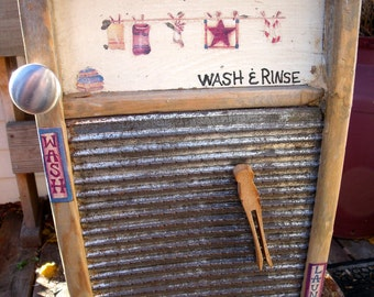 "WASHBOARD CABINET-UPcycling a washboard into a WALL cabinet-Laundry TheMe decorated-UniQue ""1-of-a-kind"" useful antiQue item for your home"