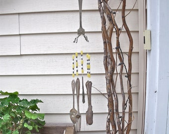 SILVERWARE WIND CHIMES WindChimes  made with REcYcLeD / REpurposed anTiQue Silverware with added pale yellow,white and silver beads