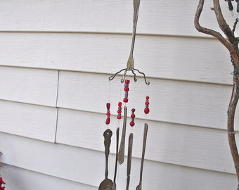 aWeSoMe -vintage SILVERWARE  REcycled / REpurposed inTo  WinDchimes WIND CHIMES with ReD and Lavender glass BeaDs