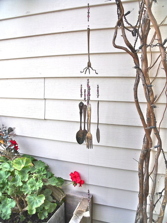 vintage SILVERWARE  REcycled / REpurposed inTo  WINDCHIMES  with silver, Hearts and  Amethyst / mauve and Lavender gLass beads-So DeLicaTe