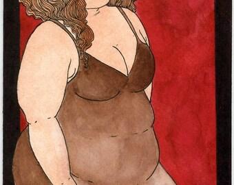 Autumn 5x7 art print Fat Girl BBW