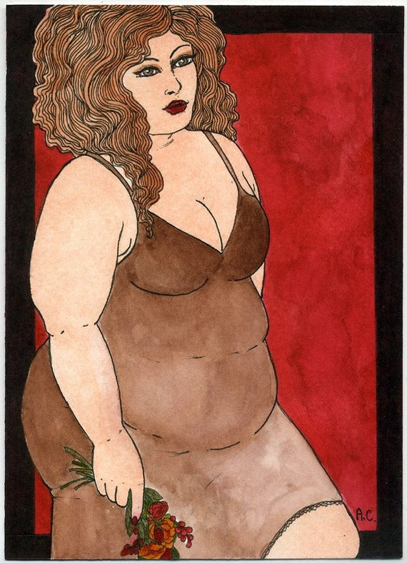 Autumn 5x7 art print Fat Girl BBW