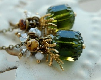snowy pine tree earrings, beaded cluster drops, czech glass jewelry, woodland branch earrings