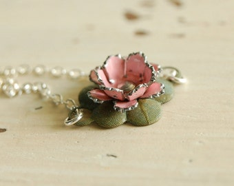 waterlily (pink) - shabby style vintage enamel flower verdigris lotus lilypad sterling silver necklace