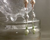 Tri-Color Pearl Wire-Wrapped Dangle Earrings