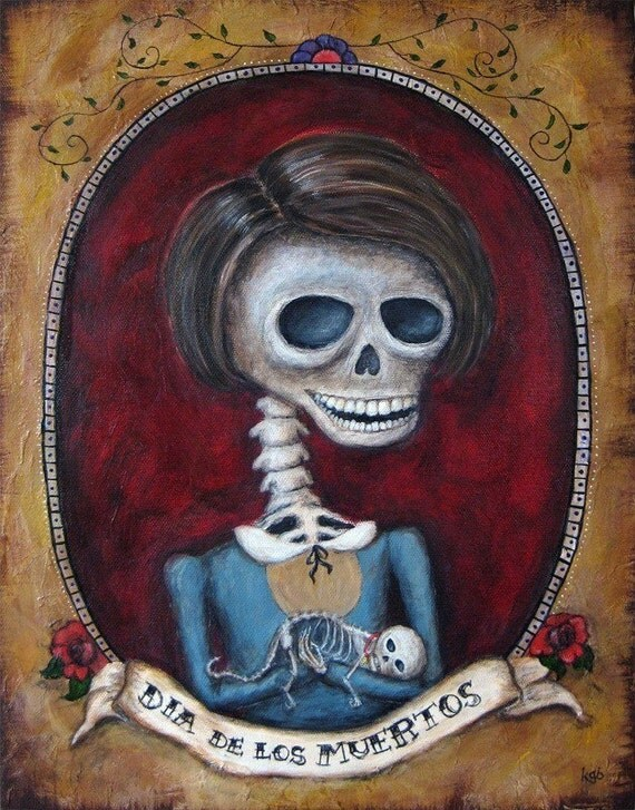 Day of the Dead giclee print of acrylic painting, Dia de los Muertos, wall art print poster