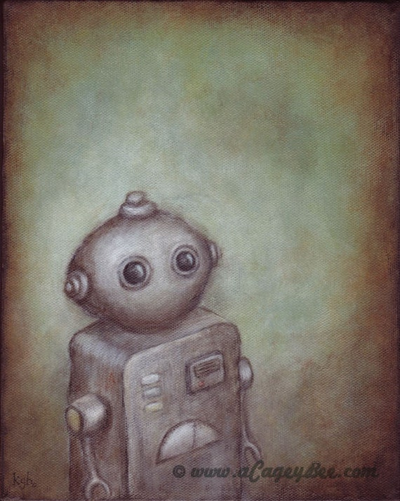 "Robot art - giclee print of robot painting ""Stanley"" by Kris G. Brownlee, wall art poster"