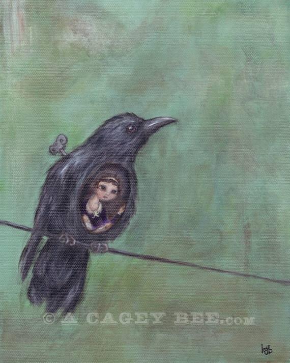 As the Crow Flies giclee print - bird painting 8x10 bird print acrylic painting
